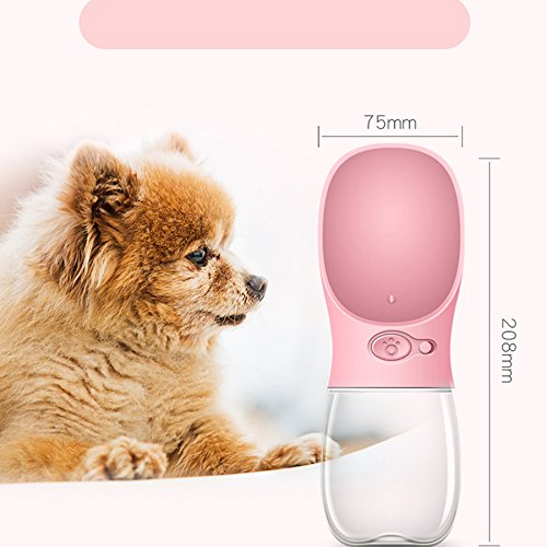 Cheap Chelsea's Dog Water Bottle [2018 New Type] Fashion Antibacterial Food Grade Leak Proof Portable Dog Cat Travel Water Cup Bowl with Big Trough, Pets Outdoor Drinking Cup(12 OZ, Pink)