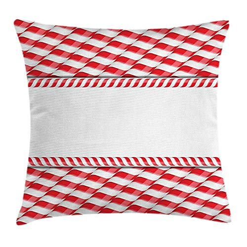 Queolszi Candy Cane Throw Pillow Cushion Cover, Horizontal Border Design with Abstract Traditional Food Pattern Taste of Xmas, Decorative Square Accent Pillow Case, 18 X 18 Inches, Red White