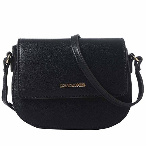 DAVIDJONES Women Black Leather Crossbody Shoulder Bag Saddle Purse