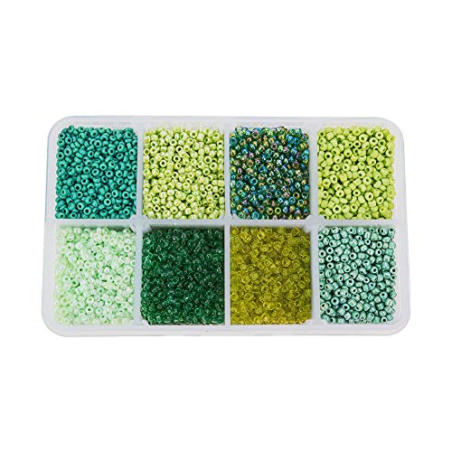 (Pandahall 1 Box Mixed Style Green 12/0 Glass Seed Beads, 2mm, Hole: 0.5mm)