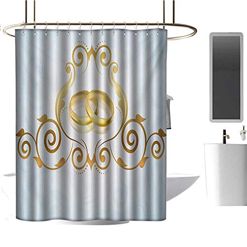 TimBeve Rustic Shower Curtain Wedding,Vintage Style Victorian Ornaments on Blue Backdrop Rings Classical Celebration,Pale Blue Gold,3D Effect Bathroom Curtain 54