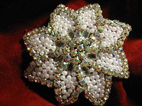 White Pearl Aurora Borealis Rhinestone Designer Flower Motif Applique KE-1188