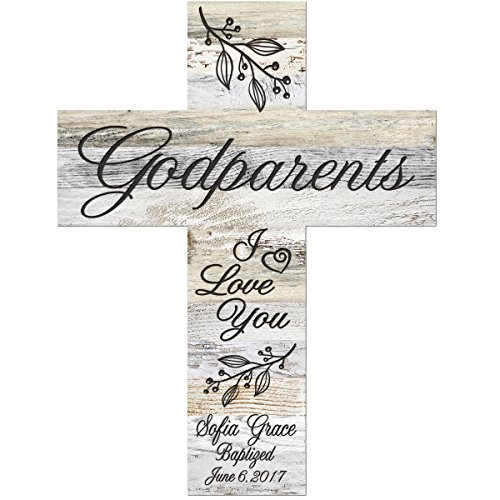 LifeSong Milestones Personalized Godparent Gifts from Godchild Custom Engraved Decorative Wall Cross Godparents Gift Ideas 1st holy Communion (I Love You - Light Distressed -