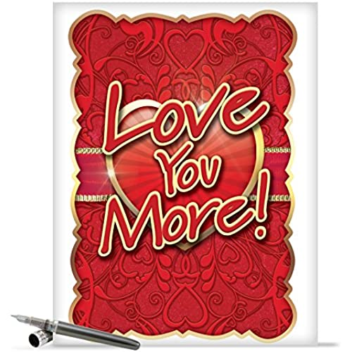 J2133 Jumbo Funny Valentine's Day Card: Love You More With Envelope (Extra Large Version: 8.5 x 11) Sales