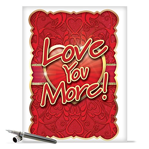 J2133 Jumbo Funny Valentine's Day Card: Love You More With Envelope (Extra Large Version: 8.5'' x 11'')