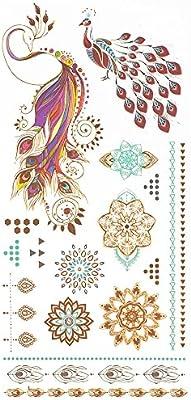 COKOHAPPY Metálico Temporales Tatuaje Fénix Phoenix Pavo real ...