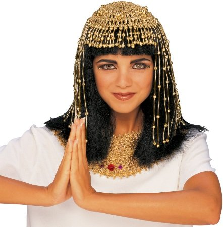 [Cleopatra Wig with Beaded Headpiece Costume Accessory] (Ancient Egypt Costumes)