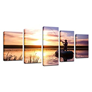 Biuteawal - 5 Panel Wall Art Man Fishing Painting Artwork Peaceful Lake Scenery Canvas Print Sunset Nature Picture for Home Living Room Bathroom Wall Decor
