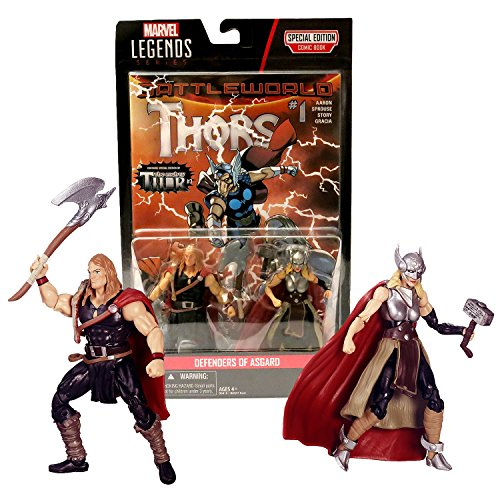 """Hasbro Year 2015 Marvel Legends Comic Book Series 2 Pack 4-1/2"""" Tall Figure - DEFENDERS OF ASGARD with ODINSON, THOR, Axe, Mjolnir Hammer & Comic"""
