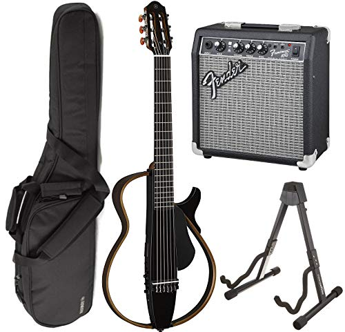 Yamaha SLG200N TBL Nylon Silent String Acoustic Electric Guitar (Translucent Black) bundled with the Fender Frontman 10G Electric Guitar Amplifier, Gigbag, and Guitar - Nylon Guitar Stand