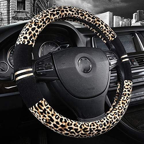Labbyway Soft Plush Steering Wheel Cover Universal 15 inch,Cute Leopard Print Pattern for Women Girls Anti-Slip Odorless Gray