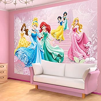 Disney princesses pink castle wallpaper mural for Disney princess castle mural