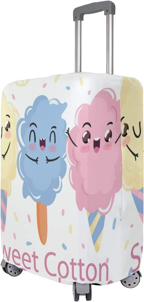 FOLPPLY Funny Cartoon Sweet Cotton Candy Smiling Luggage Cover Baggage Suitcase Travel Protector Fit for 18-32 Inch