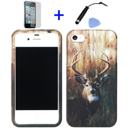 4-items-Combo-Mini-Stylus-Pen-Screen-Protector-Film-Case-Opener-Outdoor-Wildlife-Deer-Grass-Camouflage-Design-Rubberized-Snap-on-Hard-Shell-Cover-Faceplate-Skin-Phone-Case-for-Iphone-4-4S-4G-ATT-Veriz