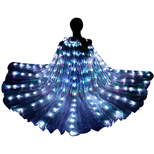 LED Isis Wings - Belly Dance Light Up Wings Party Club Wear with Flexible Sticks for Women/Girls(Blue)