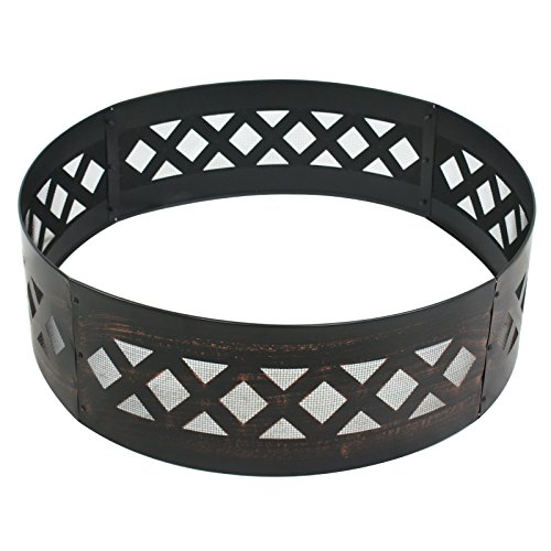 LEMY 37'' Heavy Duty Fire Ring Wilderness Fire Pit Ring Campfire Ring Steel Patio Camping Outdoors by LEMY (Image #1)'