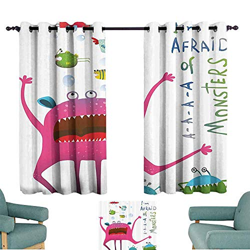 Funny Decor Collection Polyester curtain Underwater Beast Creature with Fun Monster Fish Im Afraid of Monsters Quote Kids Decor Suitable for Bedroom Living Room Study, etc.55