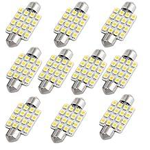 SAGUARO Pack of 10 White 41mm 1210 16-SMD 12V Car Festoon Interior Dome Light LED Bulbs 211-2 212-2 569 578 Internal
