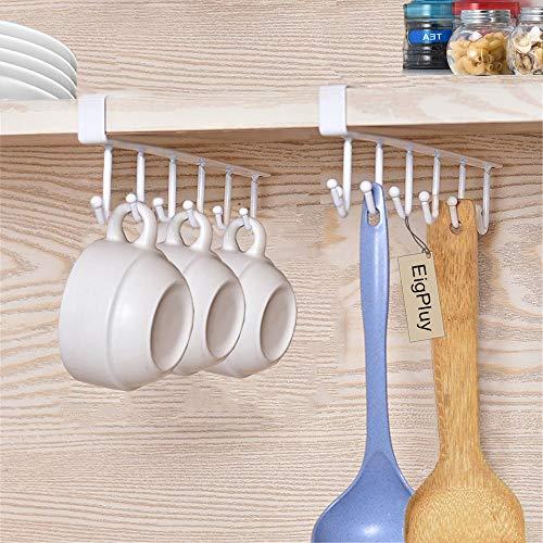 (EigPluy 2pcs Mug Hooks Under Cabinet Cups Wine Glasses Storage Hook Multifunction Nail Free Coffee Cups Holder Kitchen Utensil Holder Ties Belts Scarf Hanging Hooks Rack Holder,White)