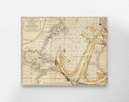 - Vintage Nautical Anchor Map Art Print Poster, Antique Nautical Chart