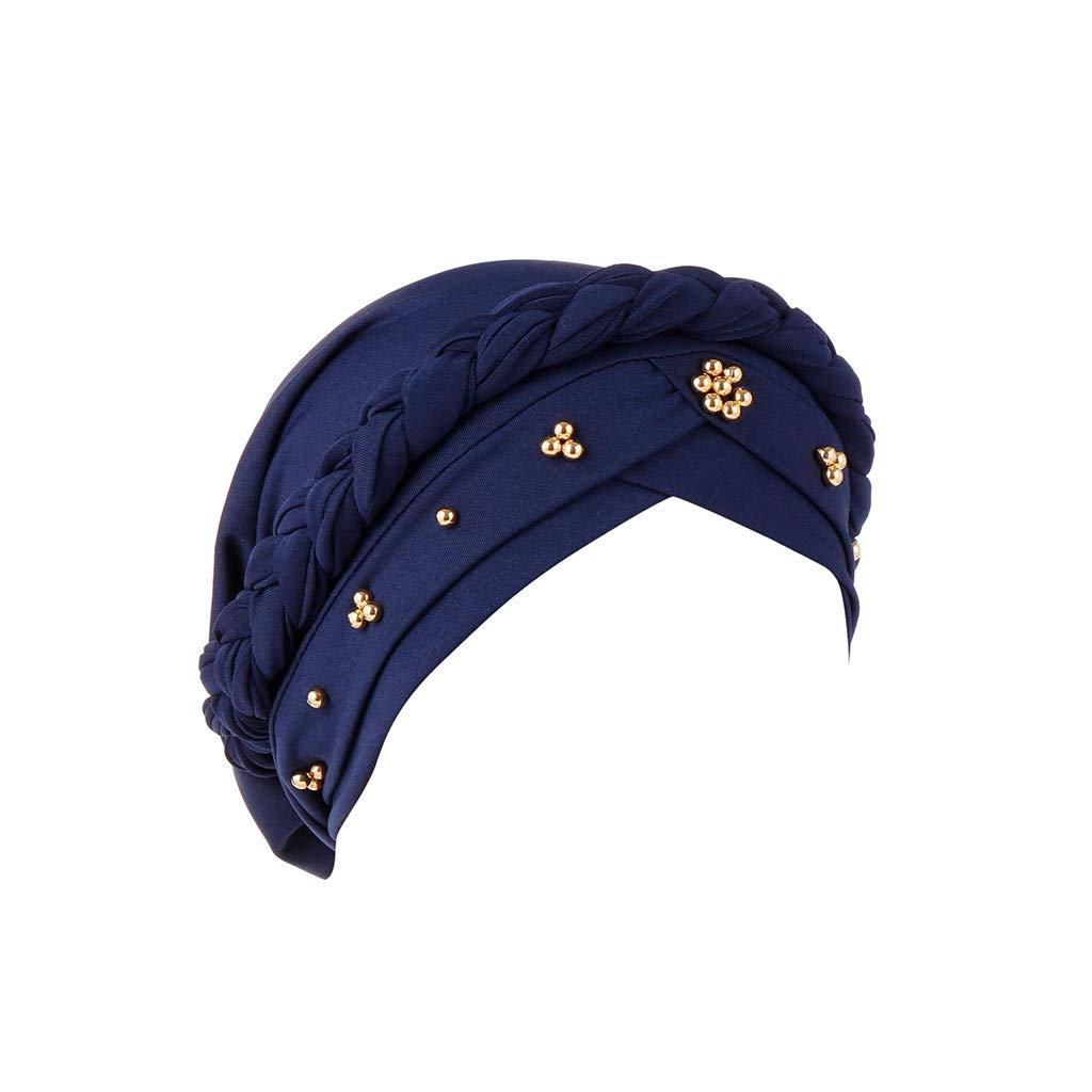 BCDshop Women Beading Braid India Hats Muslim Cancer Chemo Beanie Turban Wrap Cap (Navy)