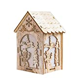 Xmas Snowman Wooden House Festival Lights Ornaments, Christmas Window Decorations, Battery Powered, 14.5cm(5.7'')