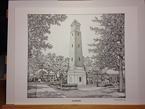 Alabama Denny Chimes 11''x14'' pen and ink print by Campus Scenes