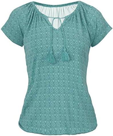 Armondii damska koszulka z nadrukiem, na lato, luźna, z krÓtkim rękawem, ze ściągaczami: Odzież