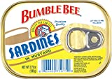 BUMBLE BEE Sardines In Mustard, High Protein Food, Keto Food and Snacks, Gluten Free Food, High Protein Snacks, Canned Food, Bulk Sardines, 3.75 Ounce Cans (Pack of 18)