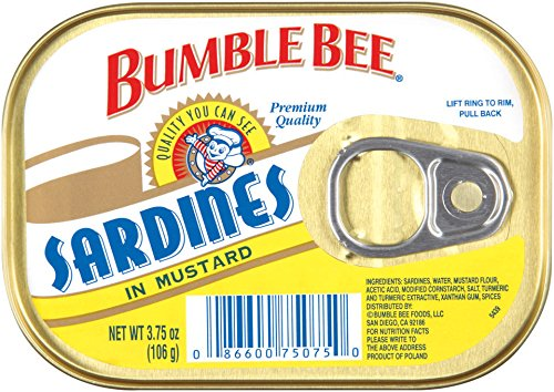 (BUMBLE BEE Sardines In Mustard, High Protein Food, Keto Food and Snacks, Gluten Free Food, High Protein Snacks, Canned Food, Bulk Sardines, 3.75 Ounce Cans (Pack of 18))