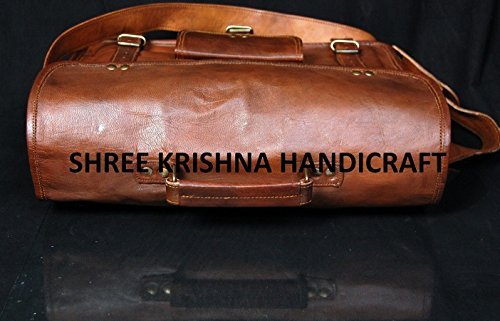 SKH Men's Genuine Vintage Leather Shoulder Laptop Bag for Laptops upto 15-Inches ( Brown )