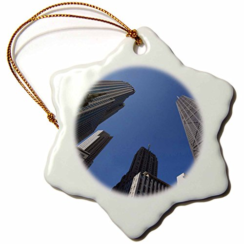 3dRose orn_90156_1 Illinois, Chicago, Hancock Building, Skyscrapers-Us14 Bja0024-Jaynes Gallery-Snowflake Ornament, 3-Inch, Porcelain