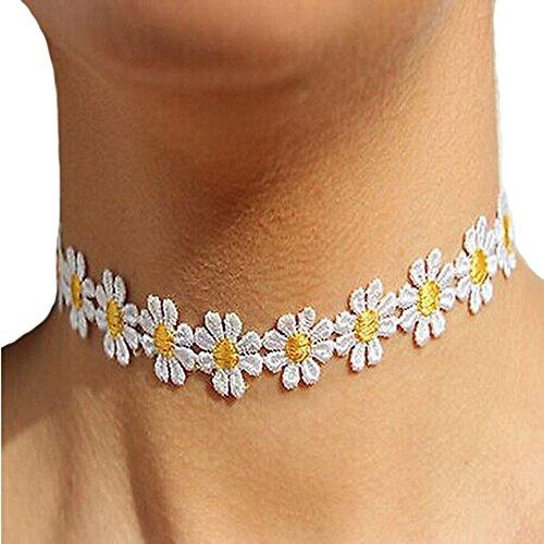 Angelof Femmes Daisy Délicate Fleur Collier Chaîne Charm Necklace
