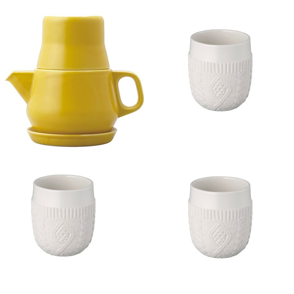 KINTO Yellow Tea For One and Three Double Wall Cup, Knit, Set of 4