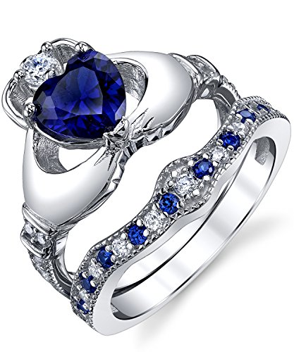 Sterling Silver 925 Irish Claddagh Love Engagement Wedding Ring Sets Simulated Sapphire Blue Heart CZ Cubic Zirconia 9