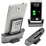 Dual Phone & Battery Charger Sync Dock Base Holder For Samsung Galaxy Note 3 III N9000