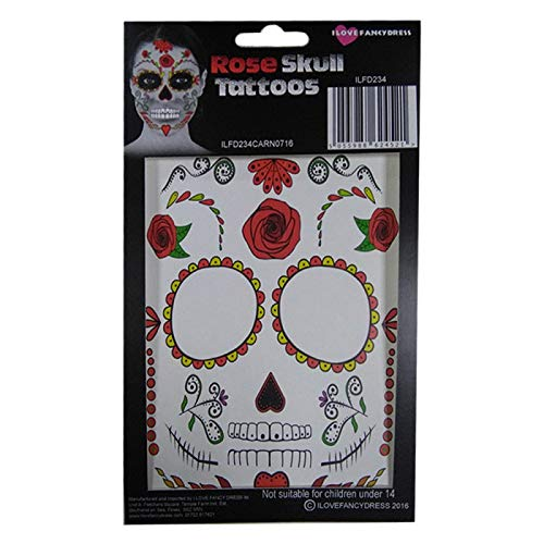 Rose Skull Temporary Face Tattoo Transfer Kit - Halloween Fancy Dress Accessory ILFD