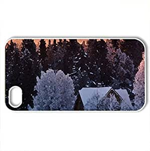 Cool winter day - Case Cover for iPhone 4 and 4s (Forests Series, Watercolor style, White)
