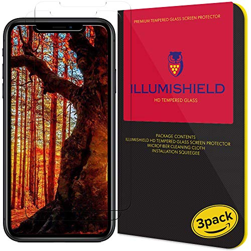 iLLumiShield Glass Screen Protector Compatible with Apple iPhone XR (6.1 inch)(3-Pack) Anti-Scrach, Case Friendly and No-Bubble Clear Tempered Glass