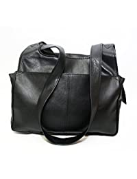 ASHLIN® Ladies Trendy leather 'BARBARA' bag in our Fabulous Black Tuscany Leather.