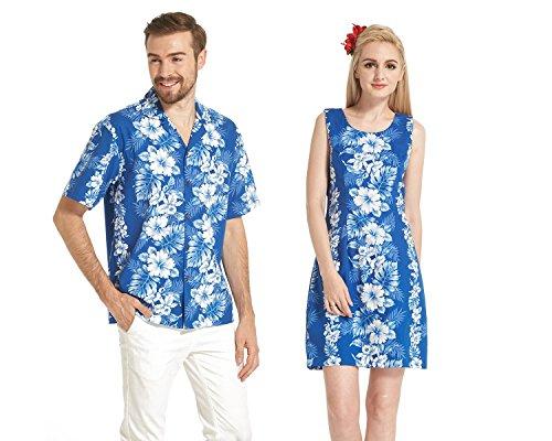 f965b2f11ac1 Made in Hawaii Couple Matching Luau Aloha Shirt Tank Dress White Hibiscus  Panel in Blue