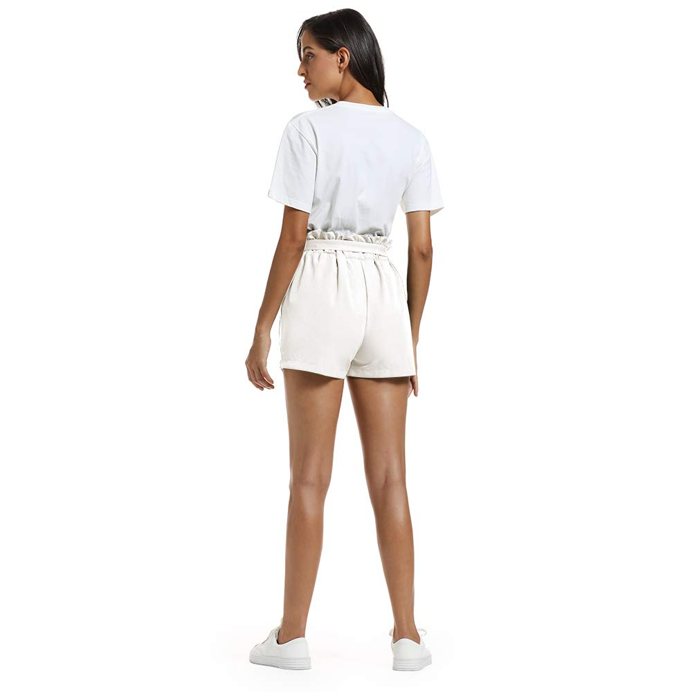 NEWFANGLE Women\'s Casual Paper Bag Shorts Elastic Tie Waist with Pocket Comfy Summer Shorts for Women,White,XXL