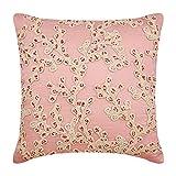 "Designer Pink Pillow Shams, Multicolor Lace Sea Creatures Ocean & Beach Theme Pillow Shams, 24""x24"" Pillow Shams, Square Cotton Linen Shams, Art Deco Pillow Shams - Coral Island"