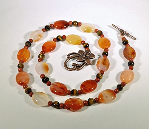 Carnelian Tiger-eye and Red Aventurine Real Stone Necklace with Flower Clasp