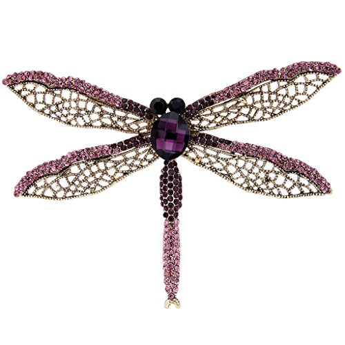 EVER FAITH Antique Gold-Tone Rhinestone Crystal Dragonfly with Hollow-Out Wing Brooch Purple ()