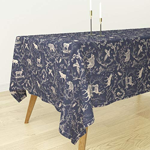 Toile Tablecloth - Deer Stag Rabbit Owl Toile Christmas Navy Moose Night Time Midnight Blue Log by Nouveau Bohemian - Cotton Sateen Tablecloth 90 x 90