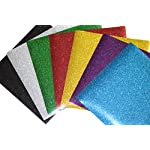 SpotDeals4u GLITTER Heat Transfer Vinyl for T Shirts garments bags and other fabrics-7 Glitter Sheets 9.8″ X 9.8″ – Assorted colors – Black,Silver,Red,Green,Gold,Purple and Aqua-Iron on Vinyl