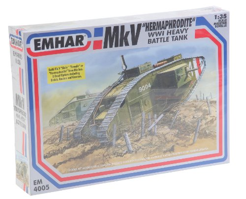 Emhar Models Mk.V Hermaphrodite WWI Heavy Battle Tank Vehicle Model Building Kit