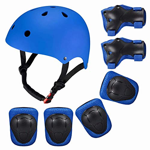MTPLUM Skateboarding Helmet Protection Pads Set with Helmet Helmet with 6pcs Elbow Knee Wrist Pads Adjustable System Ideal for Kids Youths