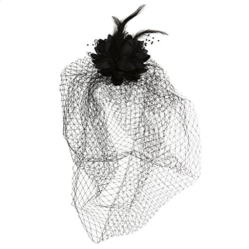 MagiDeal Fascinator Wedding Feather Black